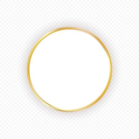 Vector gold circle frame with shadow on transparent background. Elegant design template for invitations, cards, information. Element for design. Stock Vector - 112195402