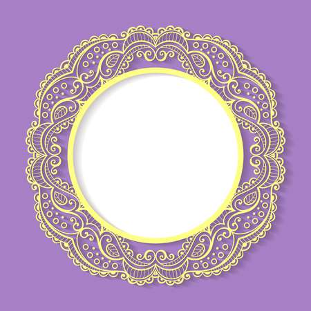 Vector circle lace frame. Purple, white and yellow elegance template.