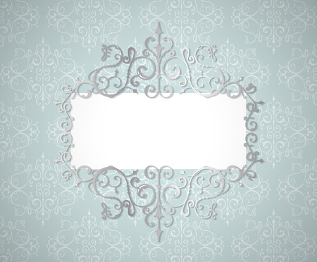 Vector vintage silver swirl frame whith shadow efect. Lase border. Gray and blue colors. wedding invitation template.
