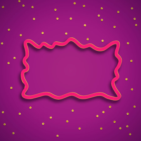Bright Abstract vector 3D frame with shadow and circle confetti. Trend purple and pink colors Ilustrace