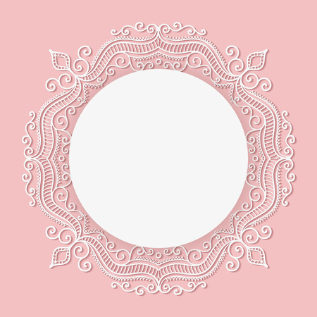 New baby born card. Vector circle lace frame. Pink and white elegance template.