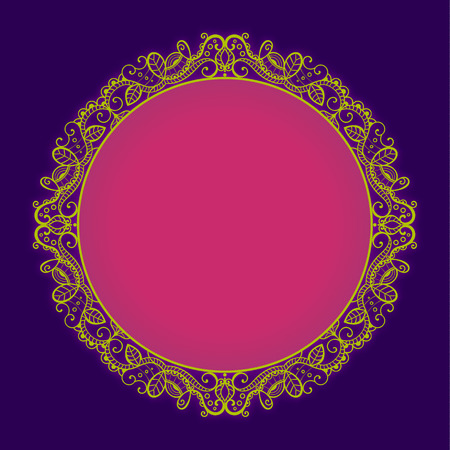 Vector bright circle lace frame whith glow effect. Pink, yellow and dark blue elegance template. Ilustrace