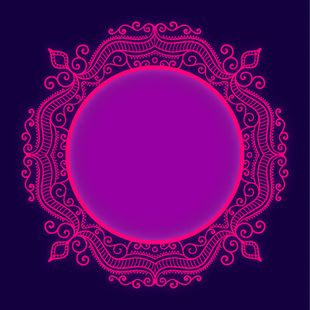 Vector bright circle lace frame whith glow effect. Pink and dark blue elegance template.