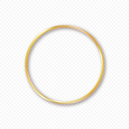 Vector gold circle frame with shadow on transparent background. Elegant design template for invitations, cards, information. Element for design. Ilustrace
