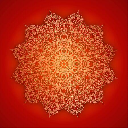 Lace gold mandala with shadow on red background. Vintage decorative elements. Çizim