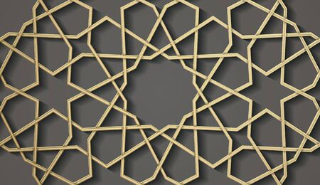 Seamless symmetrical abstract background in arabian style made of emboss geometric shapes with shadow.