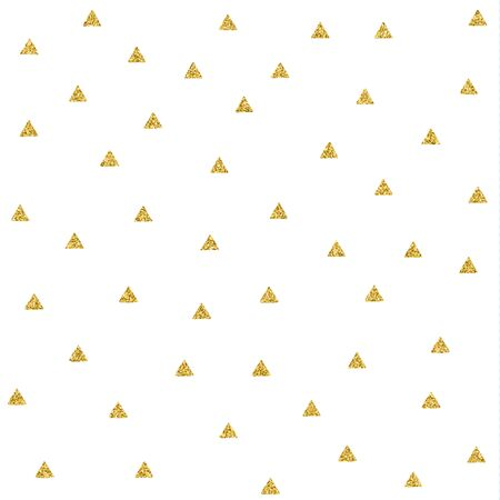 Seamless vector pattern with gold glitter scribble triangles.