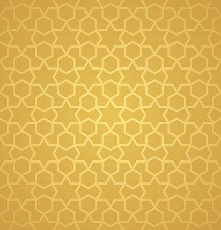 Symmetrical abstract vector background in arabian style made of gold geometric line. Banco de Imagens - 148413534