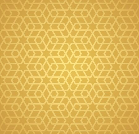 Symmetrical abstract vector background in arabian style made of gold geometric line. Banco de Imagens - 148413533