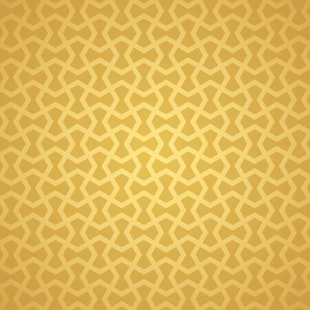 Symmetrical abstract vector background in arabian style made of gold geometric line. Banco de Imagens - 148413545