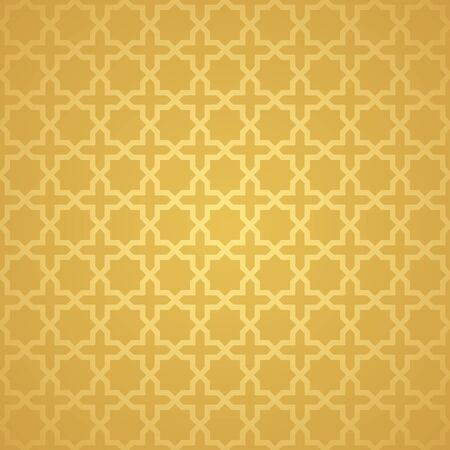 Symmetrical abstract vector background in arabian style made of gold geometric line. Banco de Imagens - 148413550