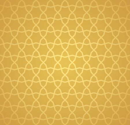Symmetrical abstract vector background in arabian style made of gold geometric line. Banco de Imagens - 148413551