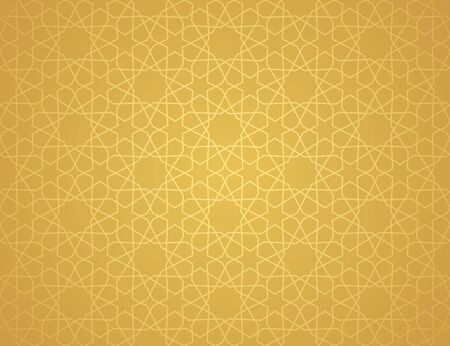Symmetrical abstract vector background in arabian style made of gold geometric line. Banco de Imagens - 148413587