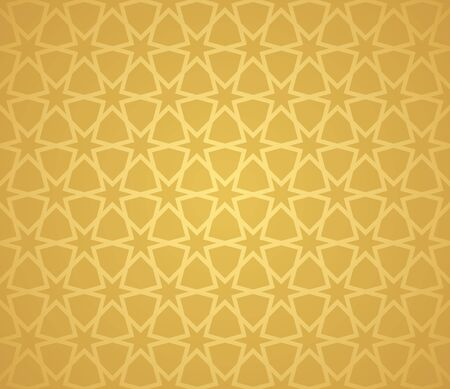 Symmetrical abstract vector background in arabian style made of gold geometric line. Ilustração
