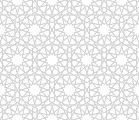 Seamless symmetrical abstract vector background in arabian style made of geometric shapes. Islamic traditional pattern. Grey and white colors.