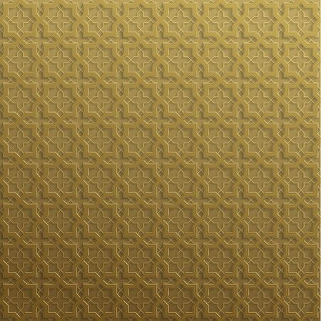 Symmetrical abstract vector background in arabian style made of emboss geometric shapes with shadow. Islamic traditional pattern. Gold color.