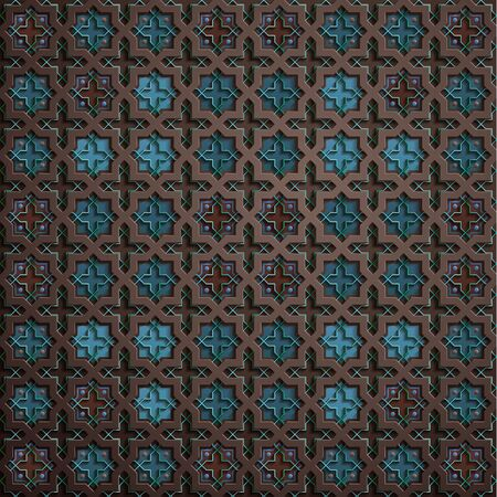 Symmetrical abstract vector background in arabian style made of emboss geometric shapes with shadow. Islamic traditional pattern. Blue, brown color.