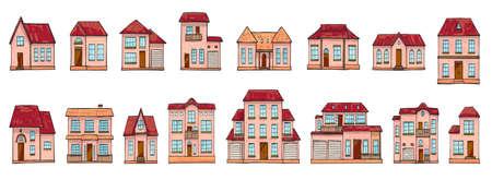 Set of different houses, cartoon scribble style. Ilustração