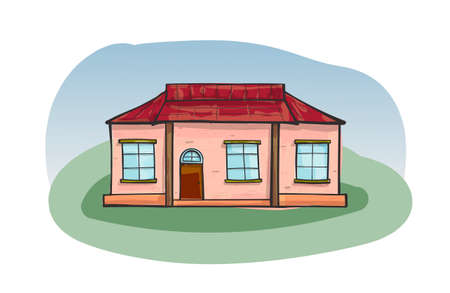 Doodle house, cartoon scribble style illustration.