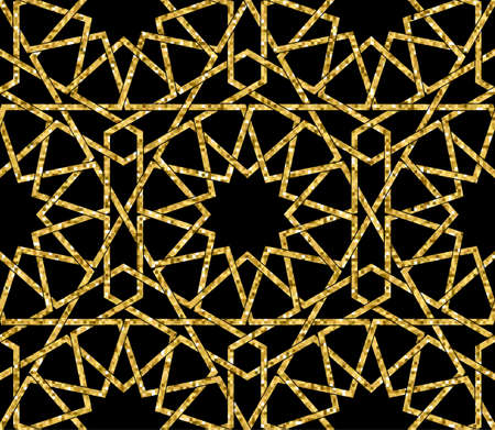 Seamless symmetrical abstract vector background in arabian style made of emboss geometric shapes.
