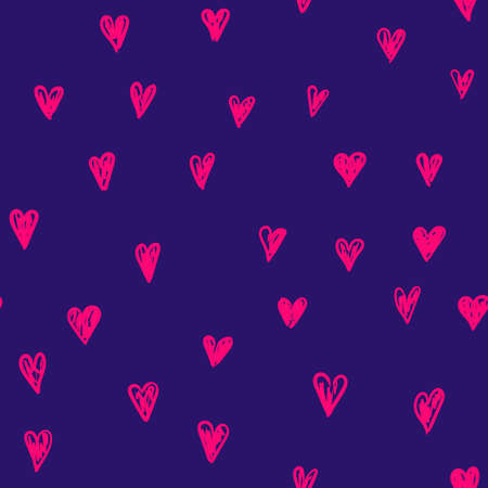 Vector doodle pattern with heats, made of brush stroke.