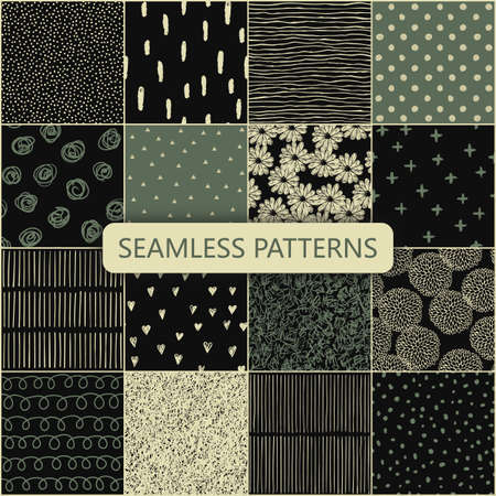 Set of vector seamless spring patterns with flowers, doodle pattern, dots, hearts, lines. Banco de Imagens