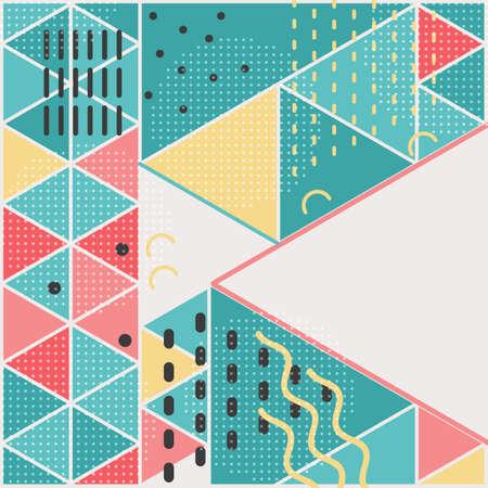 Vector template square cards made of triangles. Ilustração