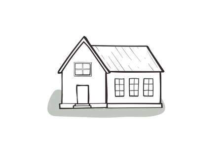 Doodle house, cartoon scribble style vector illustration.
