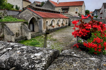 Medieval laundry and hospital in Cruzy-le-Chatel,  Bourgogne, France