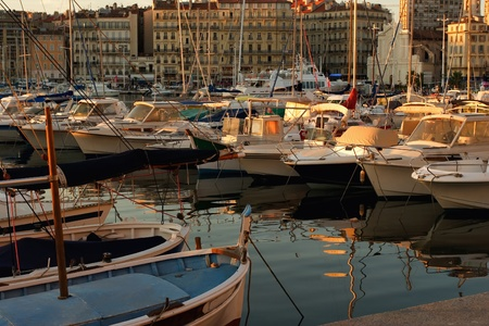 Boats in the port of Marseille Stock Photo