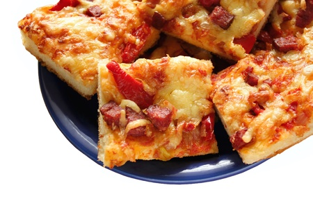 Home pie as pizza, with salami, tomato, red pepper and olives photo