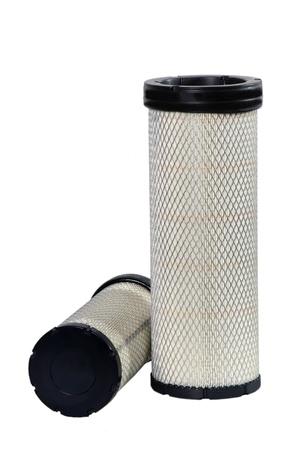 Brand new automotive oil filter cartridge on white background photo