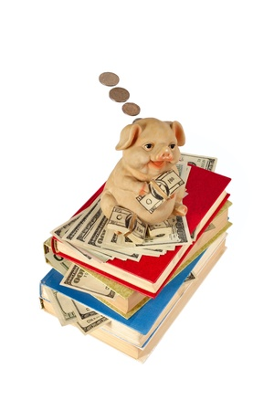 Piggy Bank with flying money staying on the books  photo