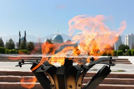 Eternal Flame in park. Ashkhabad. Turkmenistan.