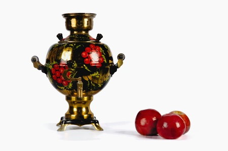 Traditional Russian Samovar and three red apples on the white background Stock Photo - 12207731
