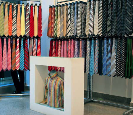 Colorfull ties in a store. Stock Photo