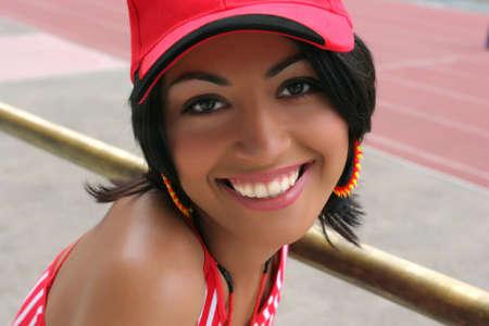 Close up portrait of  beautiful smiling cheerleader Stock Photo