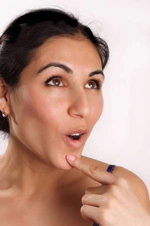 astonishment: Chica es la apertura de boca con asombro Foto de archivo