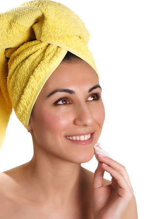 Smiling woman with towel on head  photo