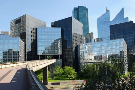 high rise buildings: Modern buildings in the business district of La Defense to the west of Paris, France  Stock Photo