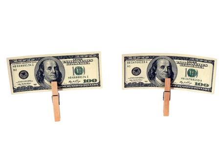 Just washed  Clean two hundred dollar bills isolated on white  Stock Photo - 13682130
