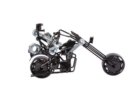 Toy  motorbike with  bolts and nuts