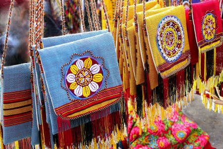 Oriental bazaar objects - handmade decorative bags  Turkmenistan  Ashkhabad market