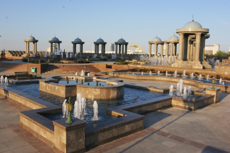 turkmenistan: Fountains complex and archs with domes  Ashkhabad  Turkmenistan