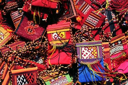 bazar: Handmade purse  with traditional ornament  Turkmenistan  Ashkhabad market  Stock Photo