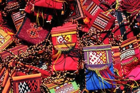 Handmade purse  with traditional ornament  Turkmenistan  Ashkhabad market  Stock Photo