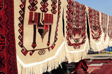 Handmade carpets for muslim prayer  Turkmenistan  Ashkhabad market