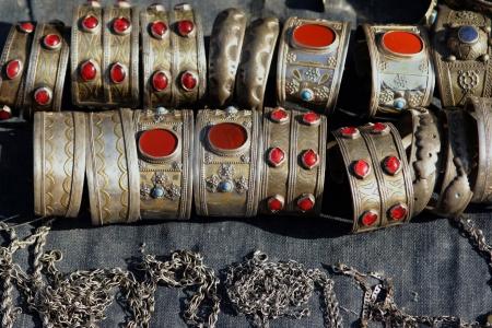 sard: National woman jewelry made of silver and semi-precious stones  Turkmenistan  Ashkhabad market  Stock Photo