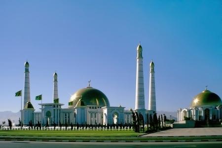 Moschee im Heimatdorf des ersten Präsidenten von Turkmenistan Nijasow Hallo wurde hierher gebracht Turkmenistan Lizenzfreie Bilder