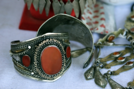 sard: National woman jewelry made of silver and semi-precious stones  Turkmenistan  Ashkhabad market  Stock Photo